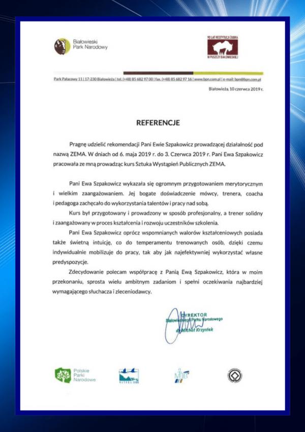 Referencje - szkolenie kadry menedżerskiej Sztuka Wystąpień Publicznych ZEMA Białowieski Park Narodowy w Białowieży