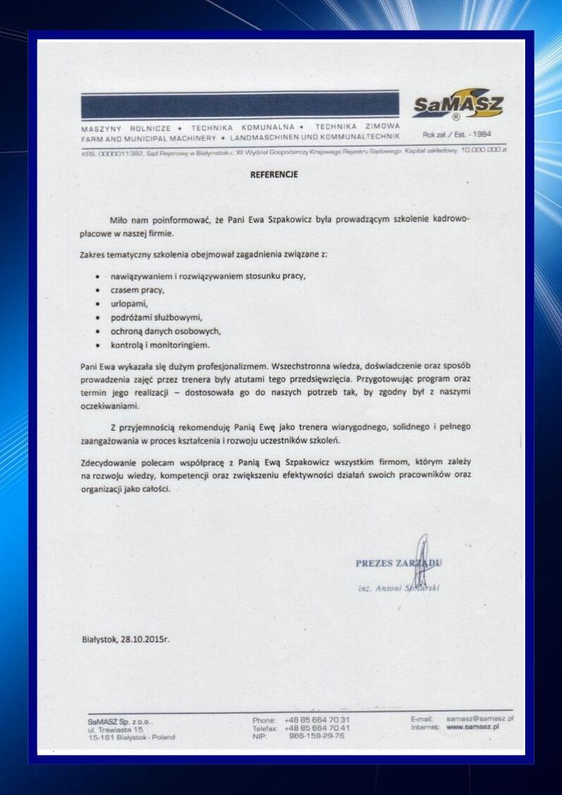 Referencje – szkolenie z kadr i płac dla firmy Samasz wystawione dla ZEMA Ewa Szpakowicz Białystok